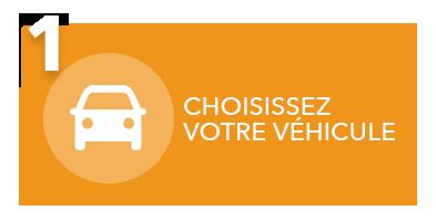 rectangle orange avec l'icône d'un véhicule avec le chiffre 1 et le texte Choisissez votre véhicule pour le cybercommerce de L'Ami Junior