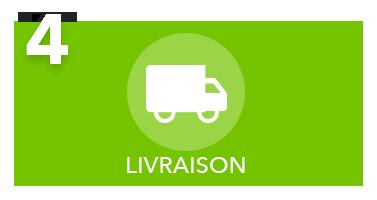 rectangle vert expliquant la 4e étape du cybercommerce de L'Ami Junior la livraison avec l'icône d'un camion blanc