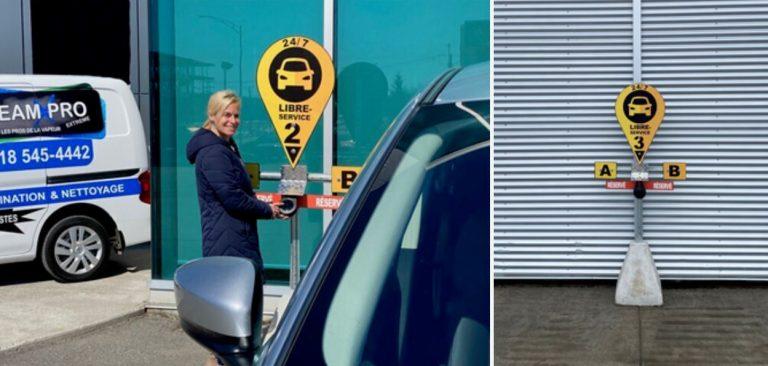Femme utilisant le Libre-service chez Manic Toyota